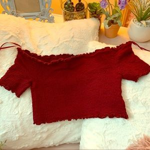 Burgundy stretchy crop top